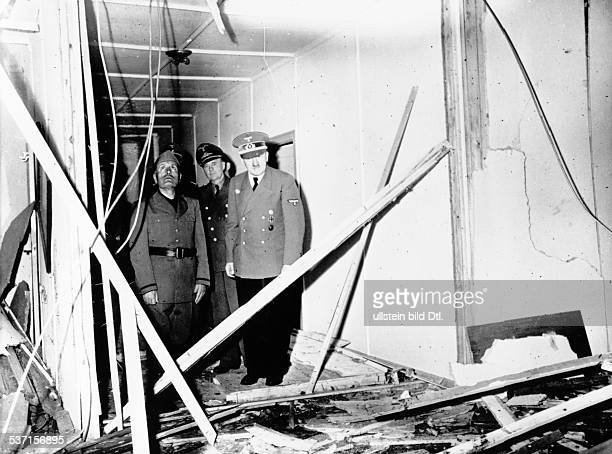 'Adolf Hitler's headquarters 'Wolfsschanze' near Rastenburg, East Prussia after the assassination attempt on July 20, 1944: Hitler and mussolini...