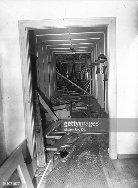 Adolf Hitler's headquarters 'Wolfsschanze' near Rastenburg East Prussia after the assassination attempt on July 20 1944 View of the destroyed guest...