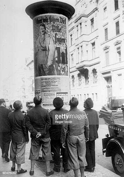 Adolf Hitler's poster aiming at young people in the streets of Berlin