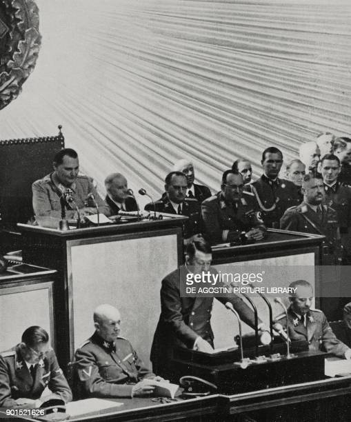 Adolf Hitler's speech before the Reichstag Berlin April 26 Germany World War II from L'Illustrazione Italiana Year LXIX No 18 May 2 1942