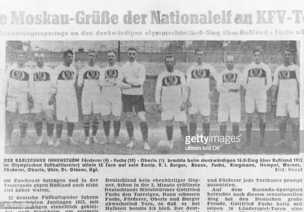 Adolf Werner Fussballspieler Torwart Deutschland Nationaltorwart 19091912 Mannschaftsfoto Nationalmannschaft Rasunda Sportplatz Viertelfinale...