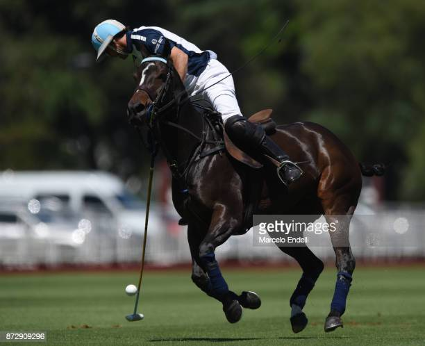 Adolfo Cambiaso of La Dolfina hits the ball during a match between La Dolfina and La Esquina L M as part of the HSBC 124° Argentina Polo Open at...