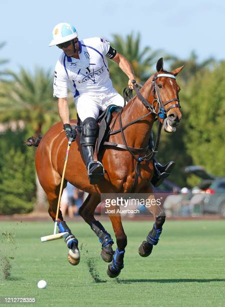 Adolfo Cambiaso of Valiente brings the ball up field against Richard Mille during The Palm Beach Open on March 15 2020 at the Grand Champions Polo...