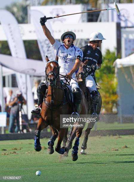 Adolfo Cambiaso of Valiente reacts after hitting the ball up field against Richard Mille during The Palm Beach Open on March 15 2020 at the Grand...