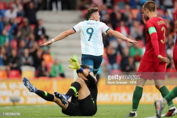 Adolfo Gaich of Argentina celebrates a goal which is later disallowed during the 2019 FIFA U20 World Cup group F match between Portugal and Argentina...