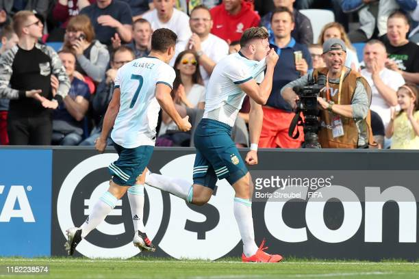 Adolfo Gaich of Argentina celebrates after scoring his team's first goal during the 2019 FIFA U20 World Cup group F match between Portugal and...