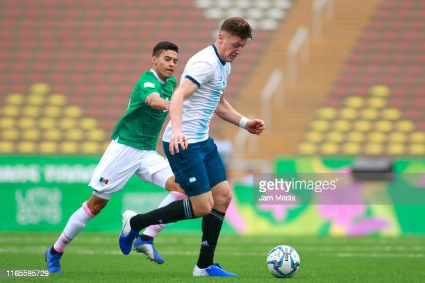 Adolfo Gaich of Argentina controls the ball during Men´s football First Round Group A match between Mexico and Argentina on Day 6 of Lima 2019 Pan...