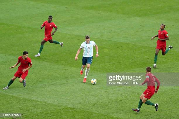 Adolfo Gaich of Argentina in action during the 2019 FIFA U20 World Cup group F match between Portugal and Argentina at BielskoBiala Stadium on May 28...