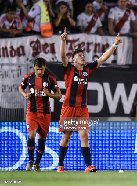 Adolfo Gaich of San Lorenzo celebrates after scoring the first goal of his team during a match between River Plate and San Lorenzo as part of...