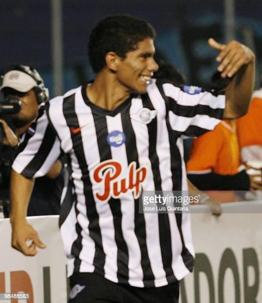 Adolfo Gama of Libertad celebrates second scored goal during a match against Blooming at Ramon Aguilera Costa Stadium on April 15 2010 in Santa Cruz...