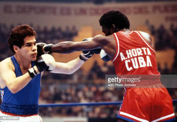 Adolfo Horta boxing at Olympic Stadium August 1983 Pan American Games