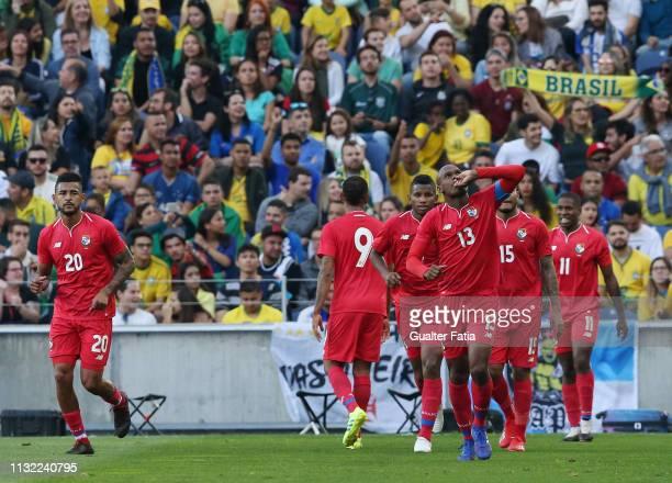 Adolfo Machado of Panama celebrates after scoring a goal during the International Friendly match between Brazil and Panama at Estadio do Dragao on...