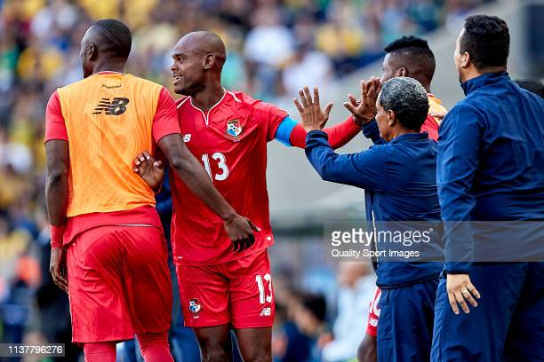 Adolfo Machado of Panama celebrates with his team mates after scoring his team's first goal during the International Friendly match between Brazil...