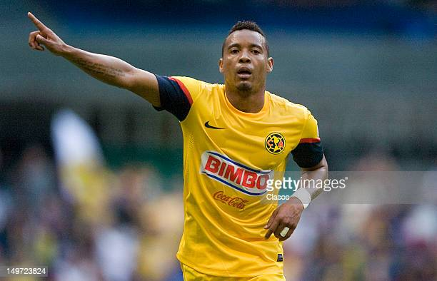 Adolfo Rosinei of America celebrates a goal during the Torneo Copa MX match between America and Veracruz in the Estadio Azteca on august 2 2012 in...