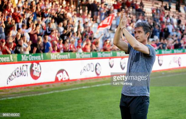 Adolfo Sormani head coach of Vejle Boldklub celebrates after the Danish NordicBet Liga match between Vejle Boldklub and FC Fredericia at Vejle...