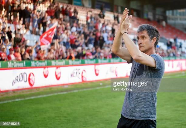 Adolfo Sormani head coach of Vejle Boldklub celebrates after the Danish NordicBet Liga match between Vejle Boldklub and FC Fredericia at Vejle...