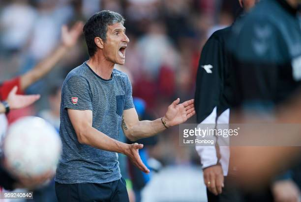 Adolfo Sormani head coach of Vejle Boldklub cheer during the Danish NordicBet Liga match between Vejle Boldklub and FC Fredericia at Vejle Stadion on...