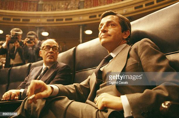 Adolfo Suarez and Leopoldo Calvo Sotelo in the Parliament The UCD politicians after Suarez´s resignation during a parliamentary session