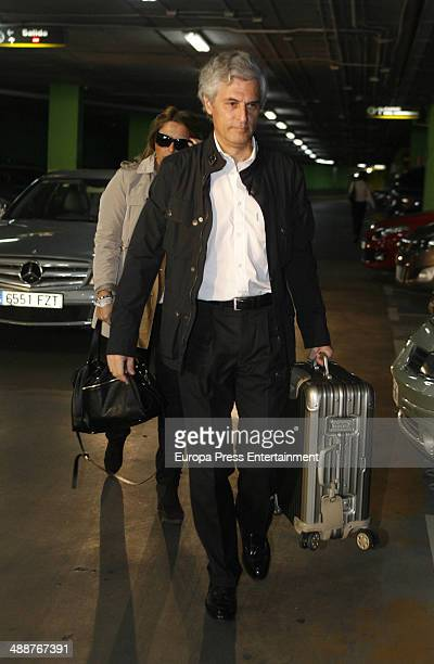 Adolfo Suarez Illana and his wife Isabel Flores arrive at hospital in Madrid Some days ago he revealed to suffer neck cancer on May 8 2014 in Madrid...
