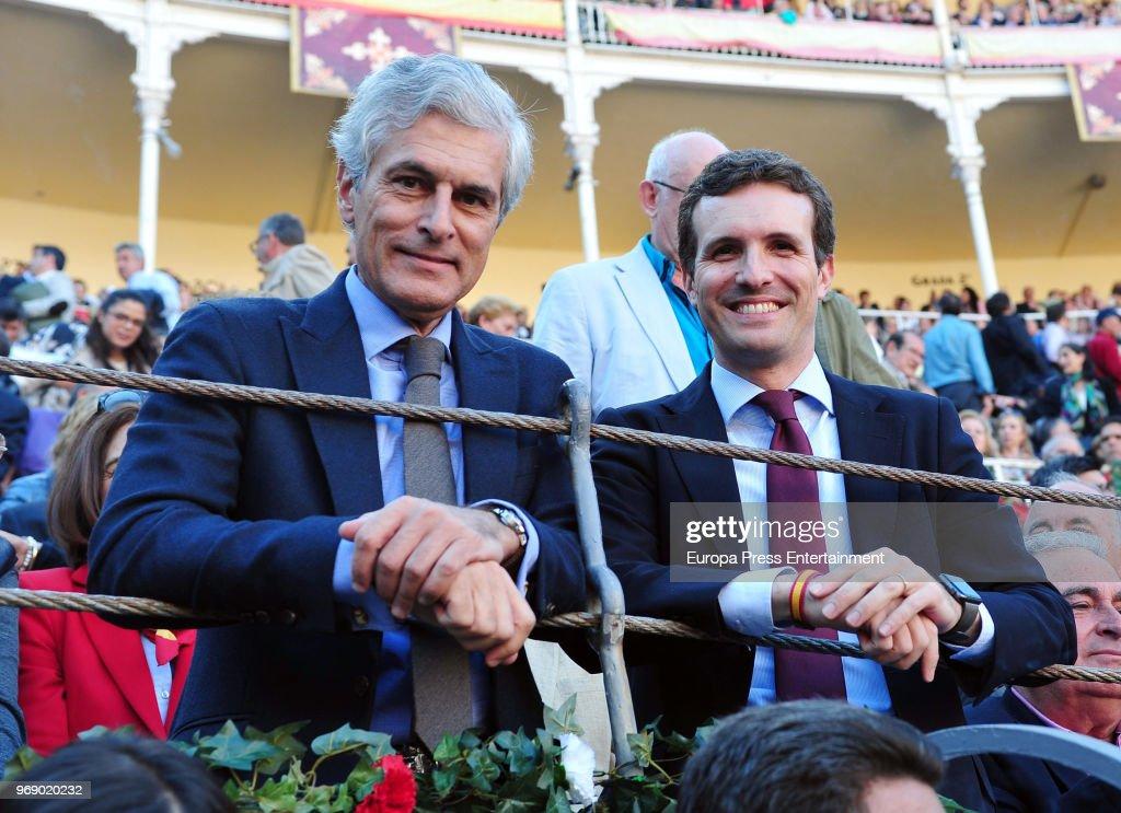 Adolfo Suarez Illana (L) and Pablo Casado attend La Beneficiencia Bullfight at Las Ventas Bullring on June 6, 2018 in Madrid, Spain.