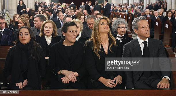 Adolfo Suarez's granddaughter Alejandra daughter Laura and son Javier attend the funeral ceremony for former Spanish Prime Minister Adolfo Suarez at...