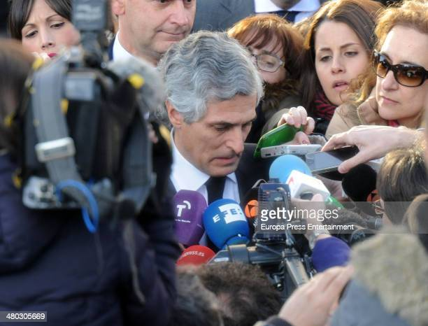 Adolfo Suarez's son Adolfo Suarez Illana talks to press after the death of his father the man who led Spain to its transition to democracy after the...