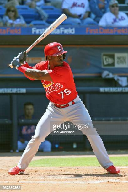 Adolis Garcia of the St Louis Cardinals bats against the New York Mets during a spring training game at First Data Field on March 23 2018 in Port St...