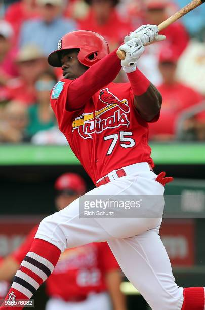 Adolis Garcia of the St Louis Cardinals in action a spring training game against the Miami Marlins at Roger Dean Stadium on March 10 2018 in Jupiter...