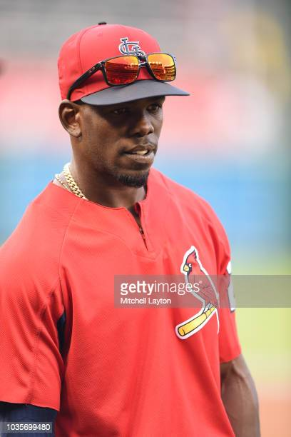 Adolis Garcia of the St Louis Cardinals looks on during batting practice of a baseball game against the Washington Nationals at Nationals Park on...
