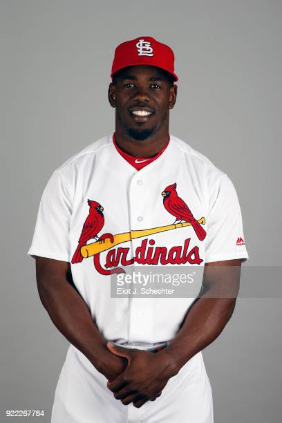 Adolis Garcia of the St Louis Cardinals poses during Photo Day on Tuesday February 20 2018 at Roger Dean Stadium in Jupiter Florida