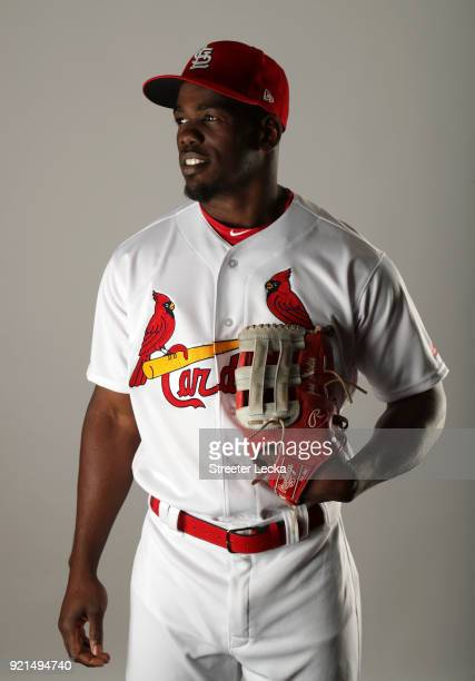 Adolis Garcia of the St Louis Cardinals poses for a portrait at Roger Dean Stadium on February 20 2018 in Jupiter Florida
