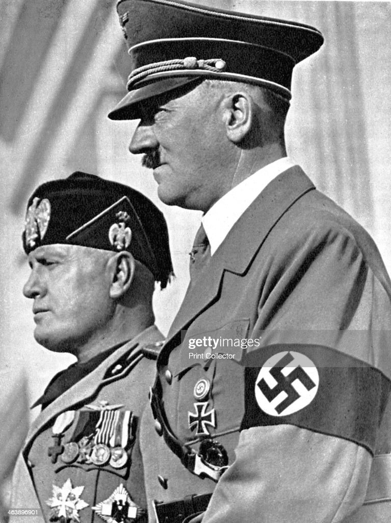 Adolph Hitler (1889-1945) and Benito Mussolini (1883-1945). : News Photo