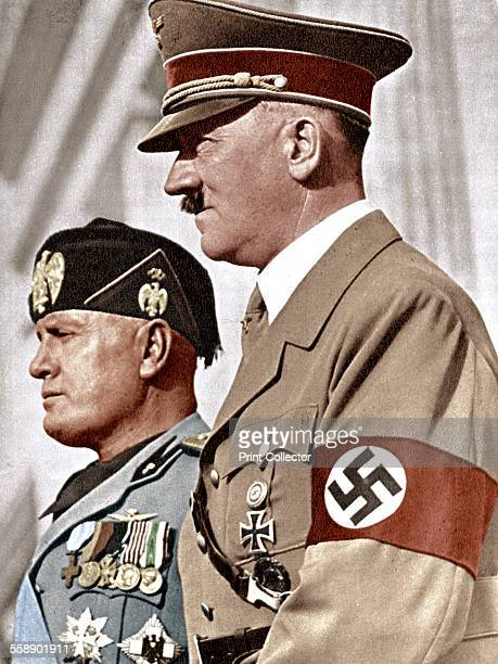 Adolph Hitler and Benito Mussolini German and Italian fascist dictators