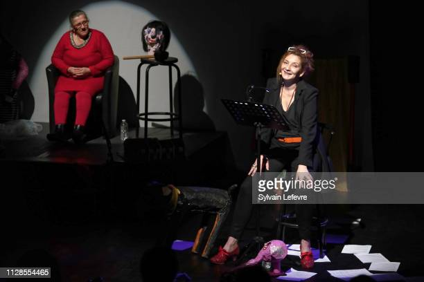 Adolpha van Meerhaeghe and Corinne Masiero perform during La vie bien renger d'Adolpha at Charcot theater on February 09 2019 in MarcqenBaroeul near...