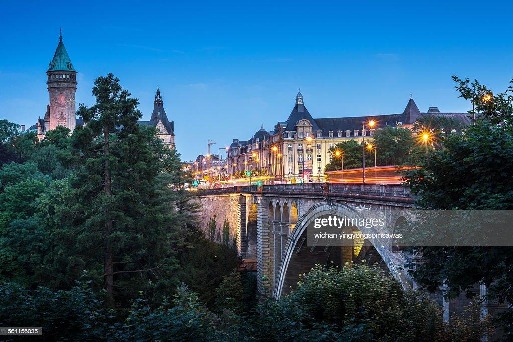 Adolphe bridge at twilight in Luxembourg City : Stock Photo