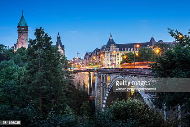 Adolphe bridge at twilight in Luxembourg City