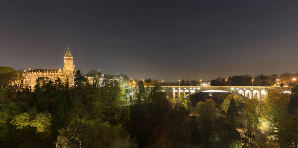 Adolphe Bridge over Parcs de la Petrusse by Musee de la Banque against sky, Luxembourg City, Luxembourg