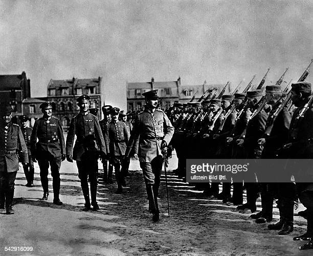 Adolphus Frederick VI Grand Duke of MecklenburgStrelitz at a troop parade on the Western Front undated