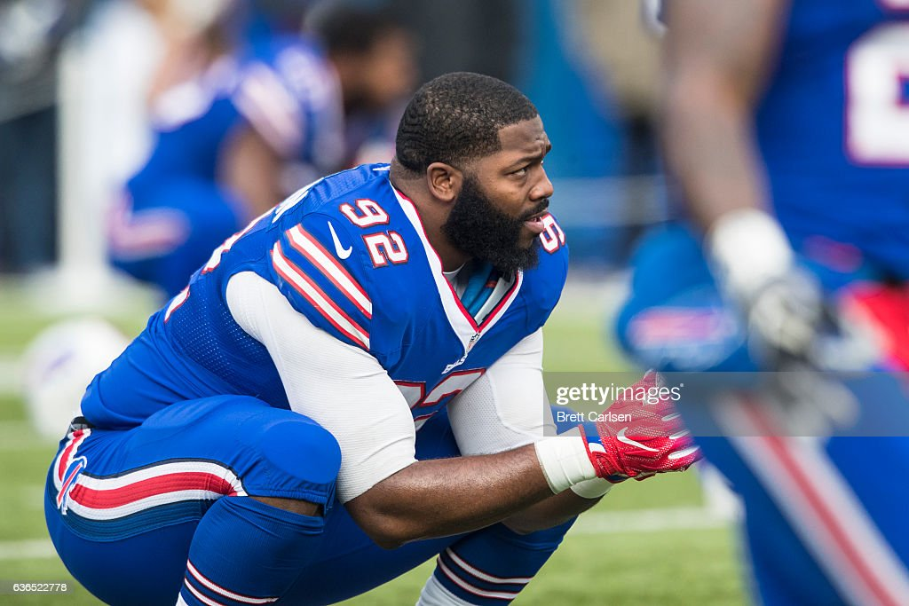 Adolphus Washington #92 of the Buffalo Bills stretches before the game against the Cleveland Browns on December 18, 2016 at New Era Field in Orchard Park, New York. Buffalo defeats Cleveland 33-13.