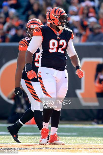 Adolphus Washington of the Cincinnati Bengals celebrates after tackling Jameis Winston of the Tampa Bay Buccaneers during the third quarter at Paul...