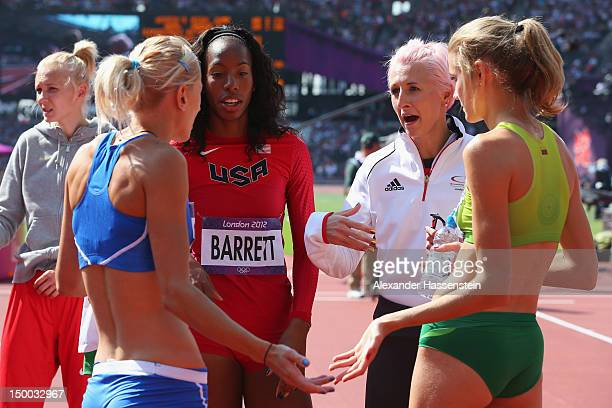 Adonia Steryiou of Greece Brigetta Barrett of the United States Ariane Friedrich of Germany and Airine Palsyte of Lithuania in discussion in the...