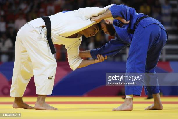 Adonis Diaz of United States competes against Renan Torres of Brazil during the Judo Men's -60 kg 1/4 Final on Day 13 of Lima 2019 Pan American Games...