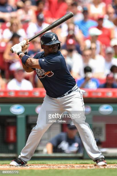 Adonis Garcia of the Atlanta Braves bats against the Cincinnati Reds at Great American Ball Park on June 4 2017 in Cincinnati Ohio