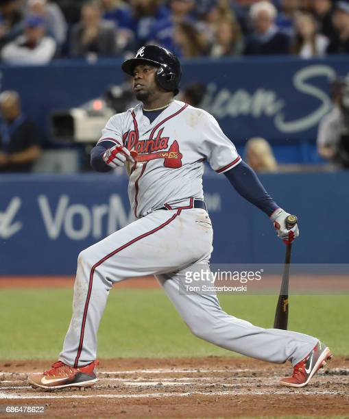 Adonis Garcia of the Atlanta Braves bats in the fourth inning during MLB game action against the Toronto Blue Jays at Rogers Centre on May 15 2017 in...
