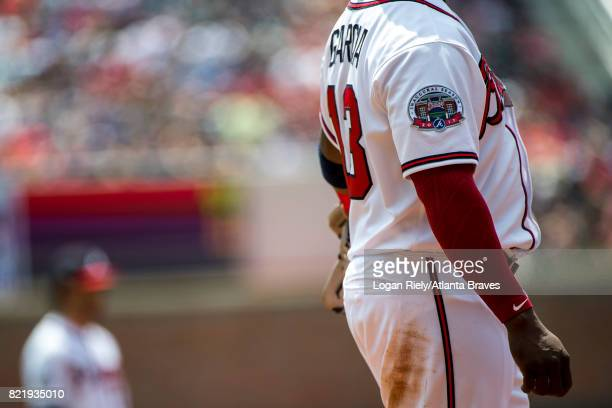 Adonis Garcia of the Atlanta Braves fields against the San Diego Padres at SunTrust Park on April 16 2017 in Atlanta Georgia The Braves won the game...