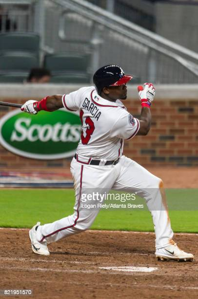 Adonis Garcia of the Atlanta Braves hits against the New York Mets at SunTrust Park on May 01 2017 in Atlanta Georgia The Mets won the game 75