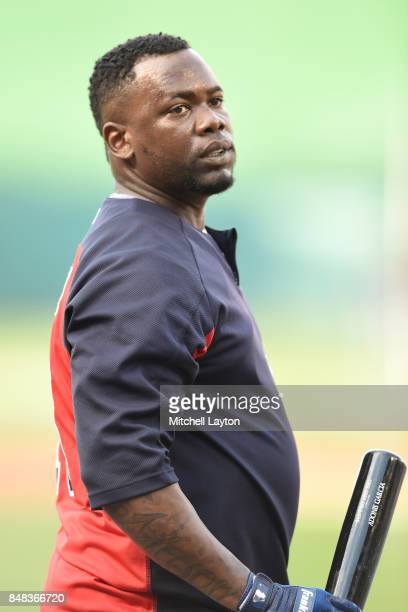 Adonis Garcia of the Atlanta Braves looks on during batting practice of a baseball game against the Washington Nationals at Nationals Park on...