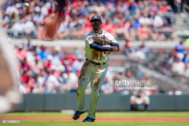 Adonis Garcia of the Atlanta Braves throws to first base against the St Louis Cardinals at SunTrust Park on May 7 2017 in Atlanta Georgia The...