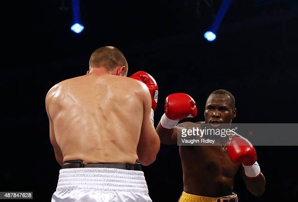Adonis Stevenson and Tommy Karpency trade punches during their Premier Boxing Champions bout at the Ricoh Coliseum on September 11 2015 in Toronto...