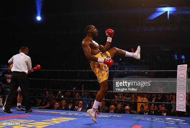 Adonis Stevenson celebrates after defeating Tommy Karpency during their Premier Boxing Champions bout at the Ricoh Coliseum on September 11 2015 in...